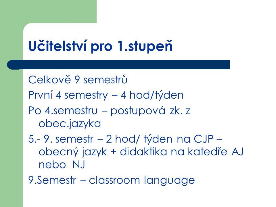 Učitelství pro 1.stupeň Celkově 9 semestrů První 4 semestry – 4 hod/týden Po 4.semestru – postupová zk. z obec.jazyka 5.- 9. semestr – 2 hod/ týden na