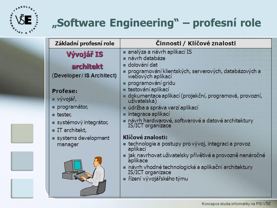 """Koncepce studia informatiky na FIS-VŠE """"Software Engineering"""" – profesní role Základní profesní role Činnosti / Klíčové znalosti Vývojář IS architekt"""