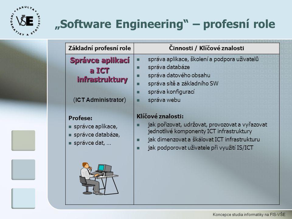 Koncepce studia informatiky na FIS-VŠE Základní profesní roleČinnosti / Klíčové znalosti Správce aplikací a ICT infrastruktury ( ICT Administrator ) P