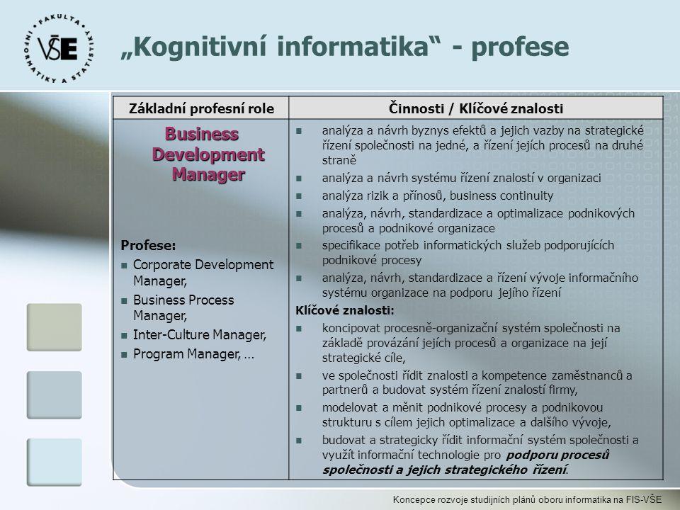 """Koncepce rozvoje studijních plánů oboru informatika na FIS-VŠE """"Kognitivní informatika"""" - profese Základní profesní roleČinnosti / Klíčové znalosti Bu"""
