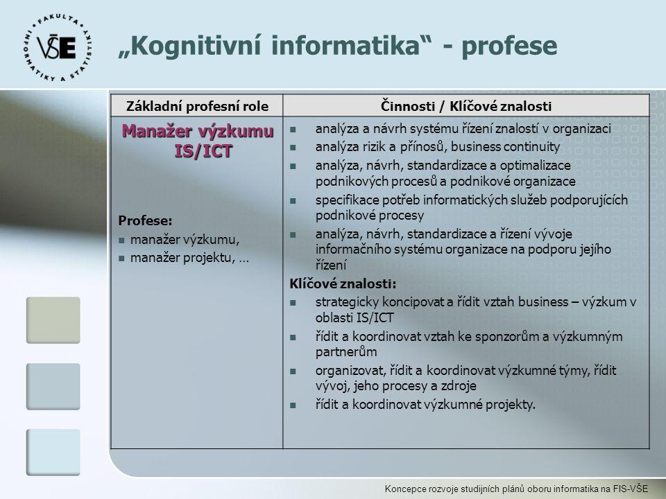 """Koncepce rozvoje studijních plánů oboru informatika na FIS-VŠE """"Kognitivní informatika"""" - profese Základní profesní roleČinnosti / Klíčové znalosti Ma"""