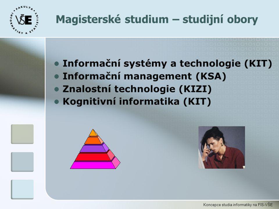 Koncepce studia informatiky na FIS-VŠE Magisterské studium – studijní obory l Informační systémy a technologie (KIT) l Informační management (KSA) l Z
