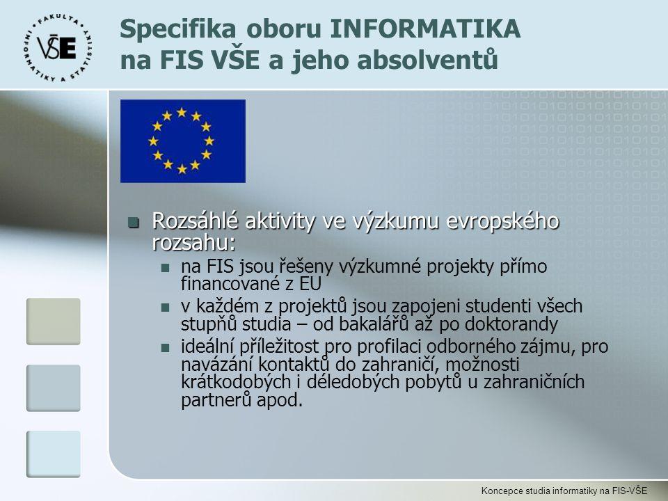 Koncepce studia informatiky na FIS-VŠE Rozsáhlé aktivity ve výzkumu evropského rozsahu: Rozsáhlé aktivity ve výzkumu evropského rozsahu: na FIS jsou ř