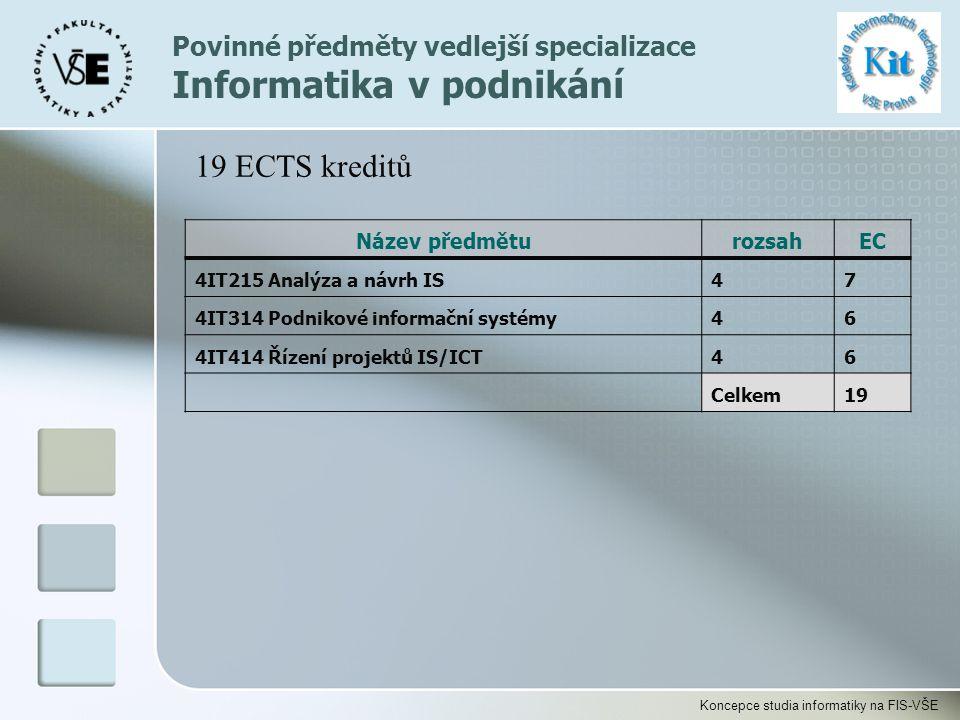 Koncepce studia informatiky na FIS-VŠE Povinné předměty vedlejší specializace Informatika v podnikání Název předměturozsahEC 4IT215 Analýza a návrh IS