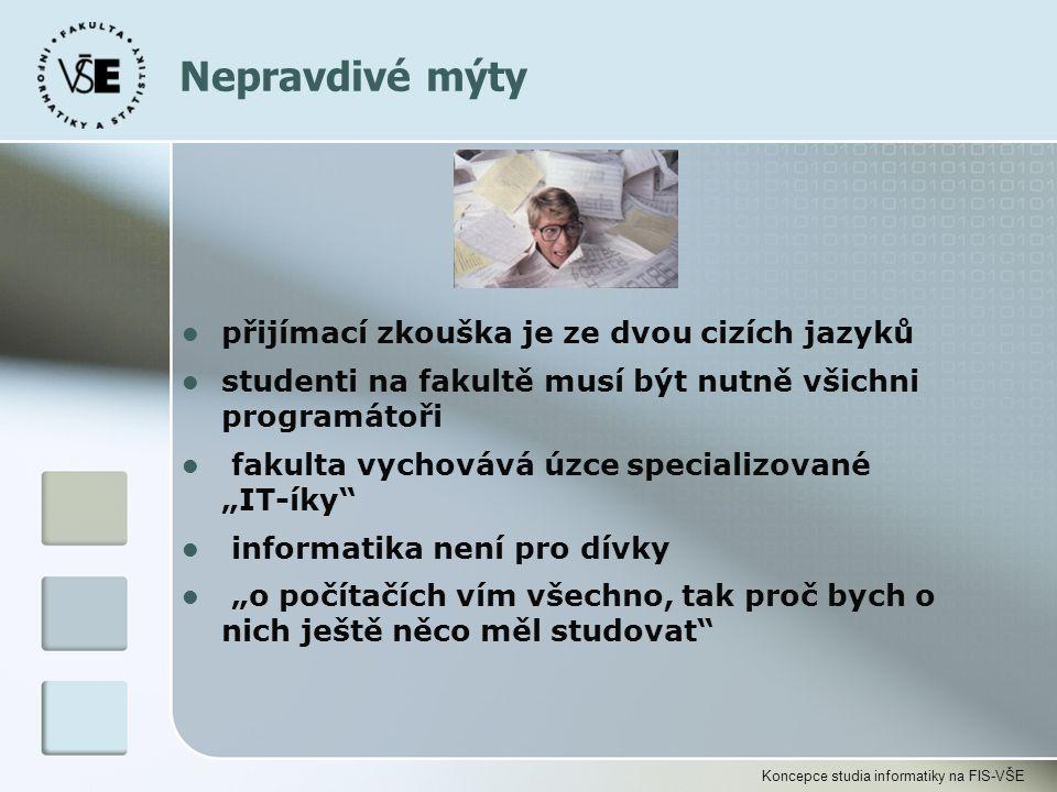 Koncepce studia informatiky na FIS-VŠE l přijímací zkouška je ze dvou cizích jazyků l studenti na fakultě musí být nutně všichni programátoři l fakult