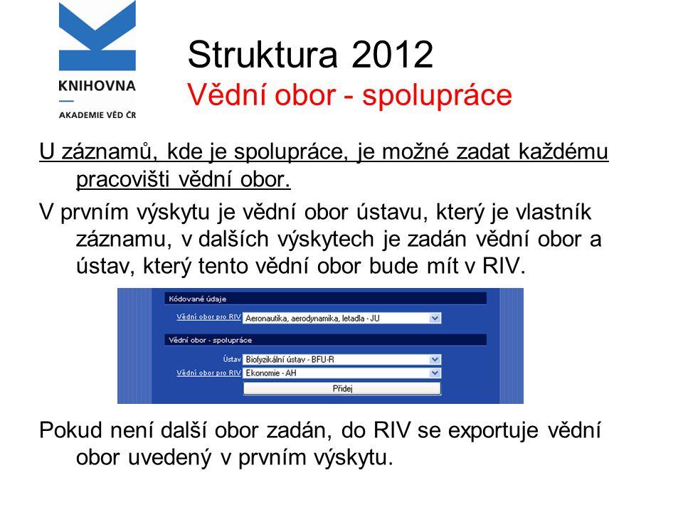 Struktura 2012 Vědní obor - spolupráce U záznamů, kde je spolupráce, je možné zadat každému pracovišti vědní obor.