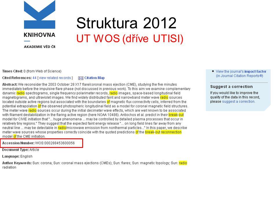 Struktura 2012 UT WOS (dříve UTISI)
