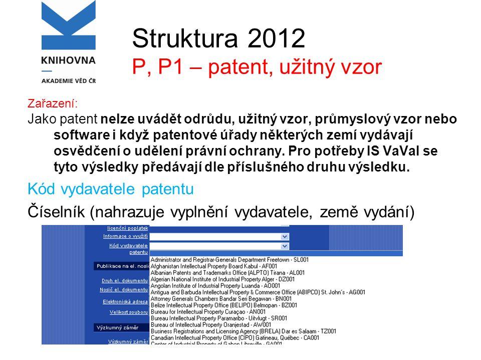 Struktura 2012 P, P1 – patent, užitný vzor Zařazení: Jako patent nelze uvádět odrůdu, užitný vzor, průmyslový vzor nebo software i když patentové úřady některých zemí vydávají osvědčení o udělení právní ochrany.