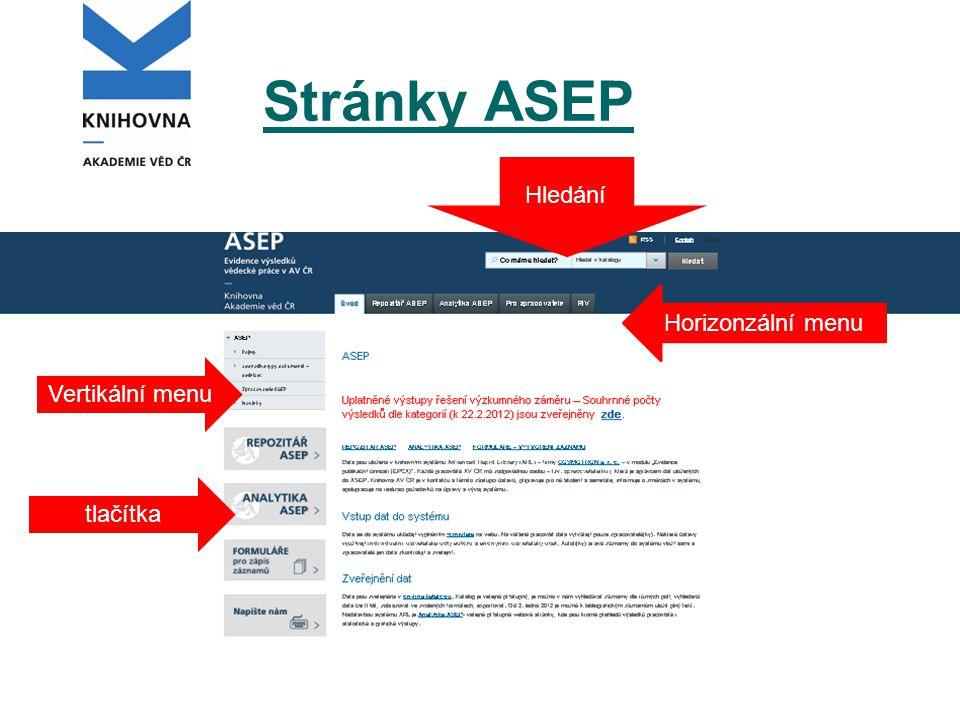 Stránky ASEP Hledání Horizonzální menu Vertikální menu tlačítka