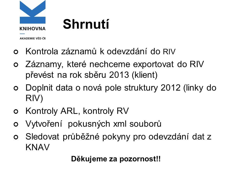 Shrnutí Kontrola záznamů k odevzdání do RIV Záznamy, které nechceme exportovat do RIV převést na rok sběru 2013 (klient) Doplnit data o nová pole struktury 2012 (linky do RIV) Kontroly ARL, kontroly RV Vytvoření pokusných xml souborů Sledovat průběžné pokyny pro odevzdání dat z KNAV Děkujeme za pozornost!!