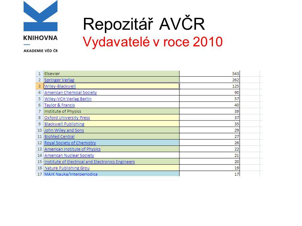 Repozitář AVČR Vydavatelé v roce 2010
