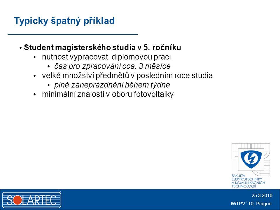 25.3.2010 IWTPV´10, Prague Typicky špatný příklad Student magisterského studia v 5.