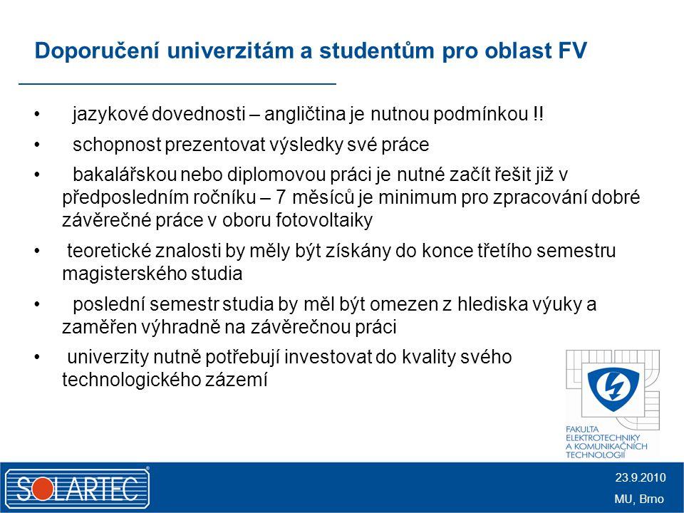 Doporučení univerzitám a studentům pro oblast FV jazykové dovednosti – angličtina je nutnou podmínkou !.