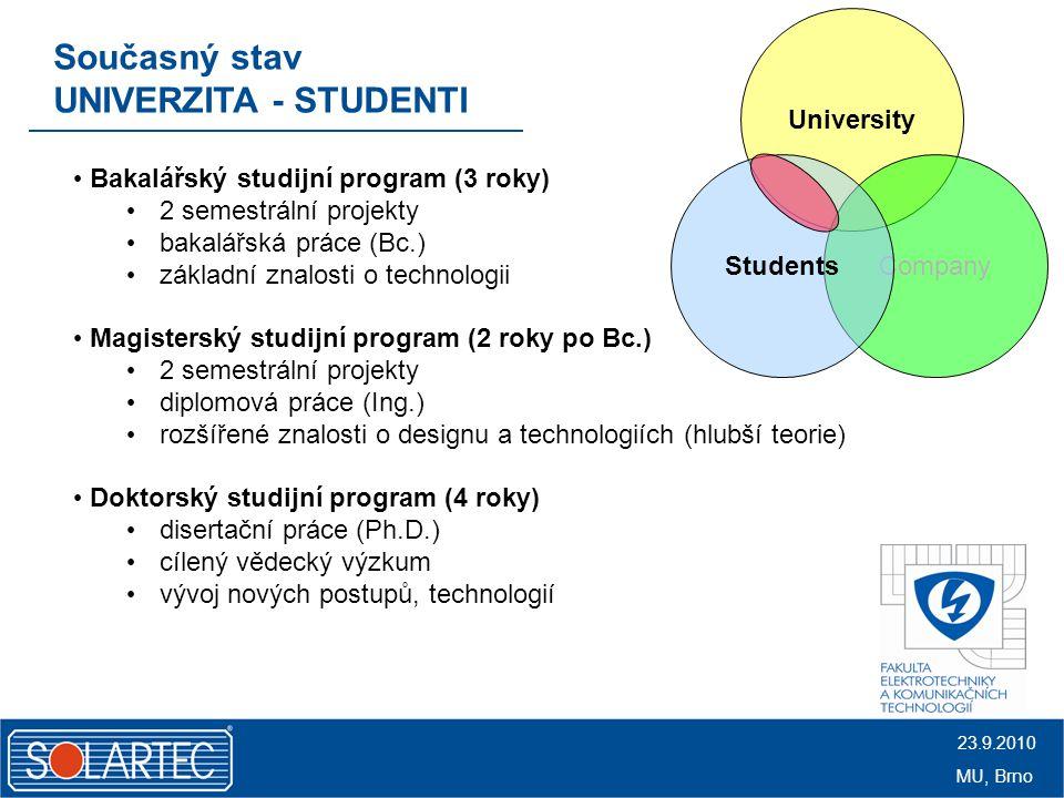 """Ideální model aneb """"záruka pro praxi UNIVERZITA - STUDENTI Univerzita SolartecStudenti vzdělání studentů = """"výroba expertů znalosti pro fotovoltaiku fyzika, polovodiče, optika, chemie, matematika, materiály, elektroniky, charakterizační metody, vakuové techniky zajištění vysoké úrovně výuky místo pro certifikaci studentů spolupráce studentů na R&D projektech ukončení studia ve standardním čase 23.9.2010 MU, Brno"""