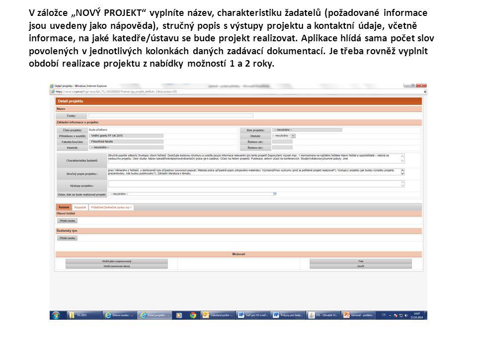 """V záložce """"NOVÝ PROJEKT"""" vyplníte název, charakteristiku žadatelů (požadované informace jsou uvedeny jako nápověda), stručný popis s výstupy projektu"""