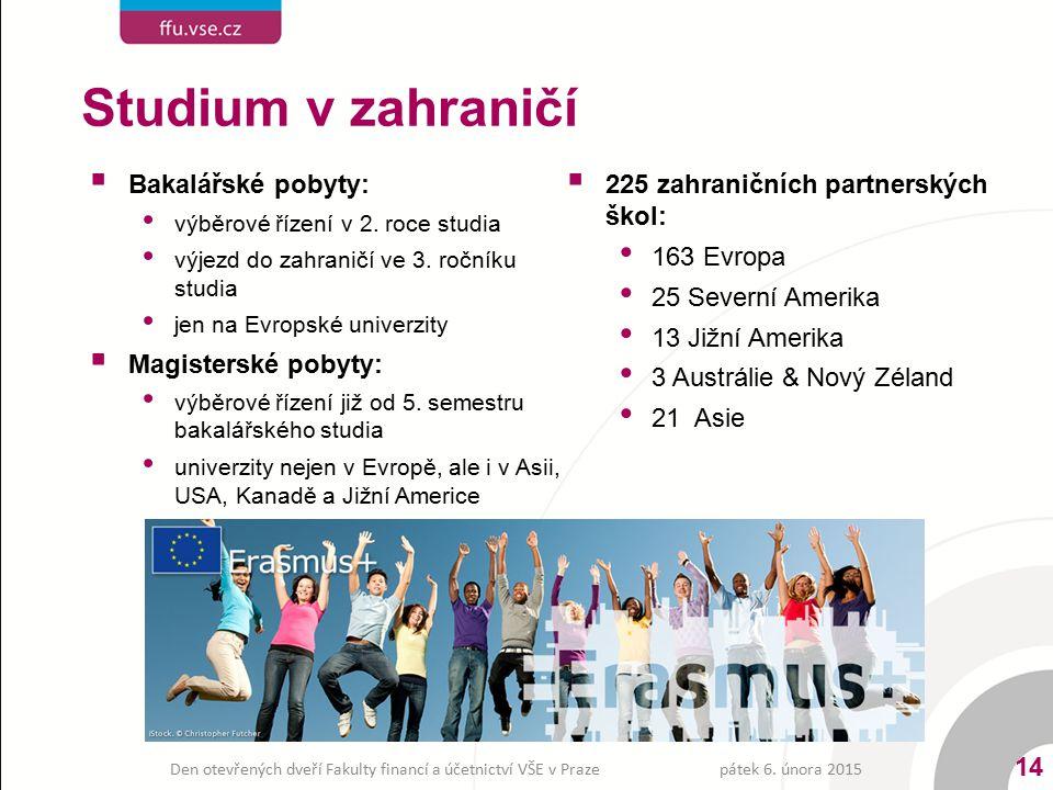  Bakalářské pobyty: výběrové řízení v 2. roce studia výjezd do zahraničí ve 3. ročníku studia jen na Evropské univerzity  Magisterské pobyty: výběro