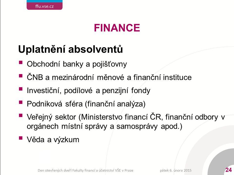 Uplatnění absolventů  Obchodní banky a pojišťovny  ČNB a mezinárodní měnové a finanční instituce  Investiční, podílové a penzijní fondy  Podniková
