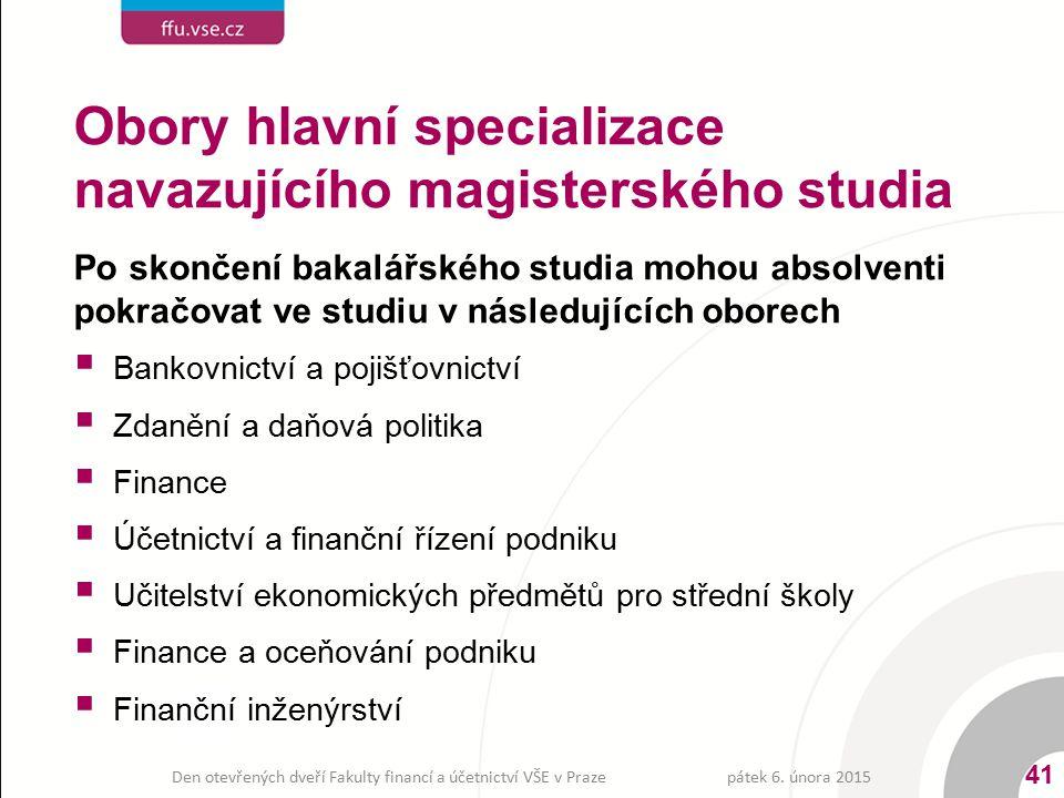 Po skončení bakalářského studia mohou absolventi pokračovat ve studiu v následujících oborech  Bankovnictví a pojišťovnictví  Zdanění a daňová polit