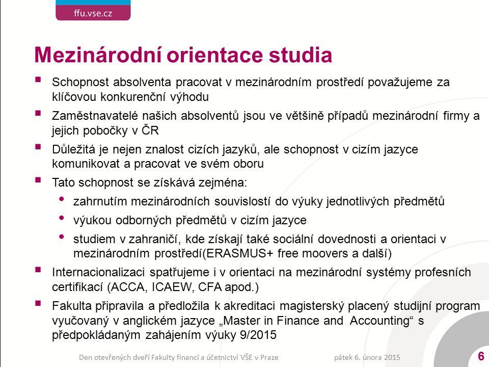 Profesní akreditace - uznávání zkoušek  Fakulta financí a účetnictví je držitelem akreditace od profesních organizací v ČR i zahraničí:  Výhody akreditací pro absolventa: konkurenční výhoda na trhu práce vyšší pravděpodobnost zaměstnání v oboru a u mezinárodní firmy plynulejší přechod ze školy do zaměstnání rychlejší kariérní růst  Výhody akreditací pro zaměstnavatele úspora času, který by byl nutný na školení a profesní zkoušky absolventů po jejich nástupu do zaměstnání úspora nákladů za školení, ztrátu času a profesní zkoušky 7 pátek 6.