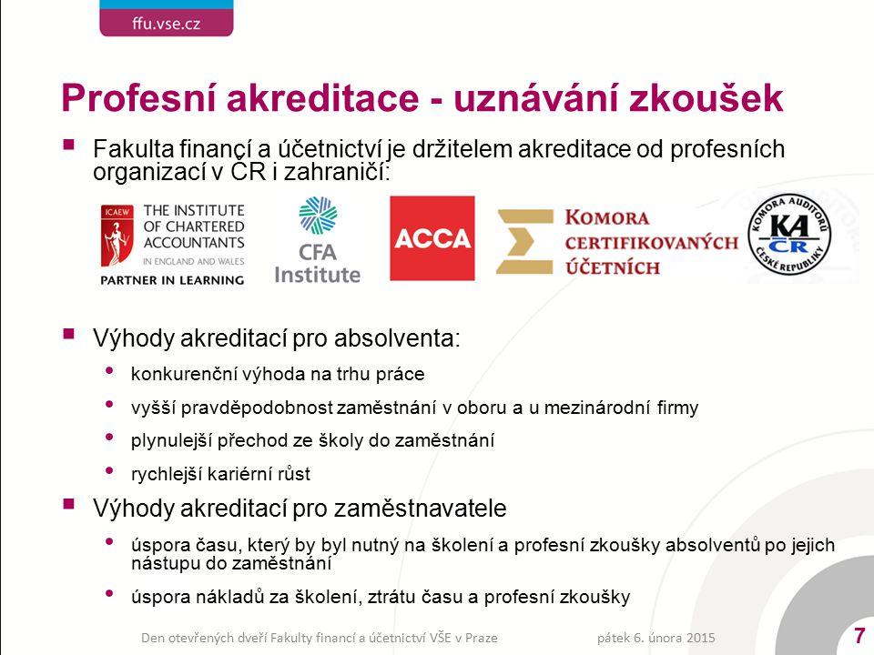 Profesní akreditace - uznávání zkoušek  Fakulta financí a účetnictví je držitelem akreditace od profesních organizací v ČR i zahraničí:  Výhody akre