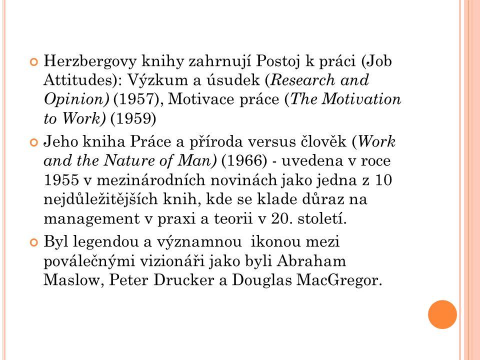 Herzbergovy knihy zahrnují Postoj k práci (Job Attitudes): Výzkum a úsudek ( Research and Opinion) (1957), Motivace práce ( The Motivation to Work) (1