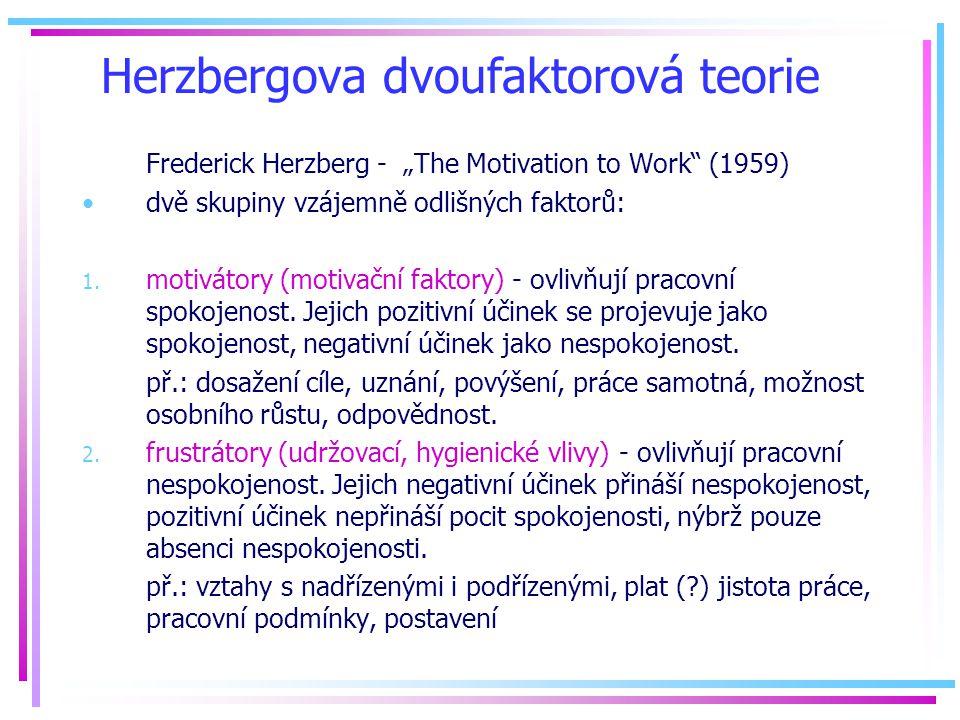 """Herzbergova dvoufaktorová teorie Frederick Herzberg - """"The Motivation to Work (1959) dvě skupiny vzájemně odlišných faktorů: 1."""