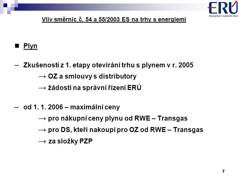 7 Vliv směrnic č. 54 a 55/2003 ES na trhy s energiemi Plyn – Zkušenosti z 1.
