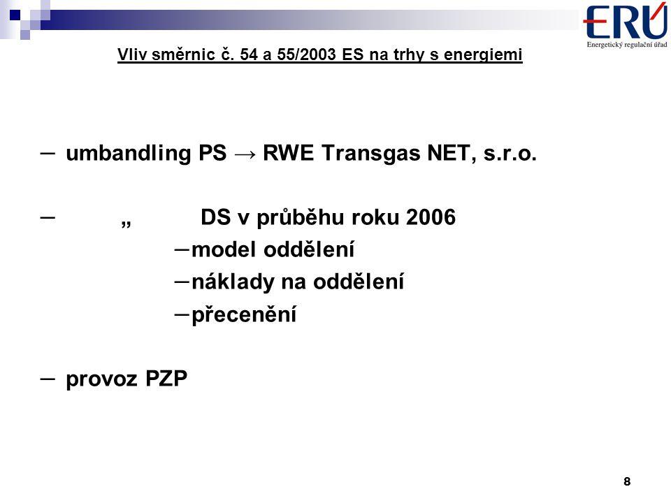8 Vliv směrnic č. 54 a 55/2003 ES na trhy s energiemi – umbandling PS → RWE Transgas NET, s.r.o.
