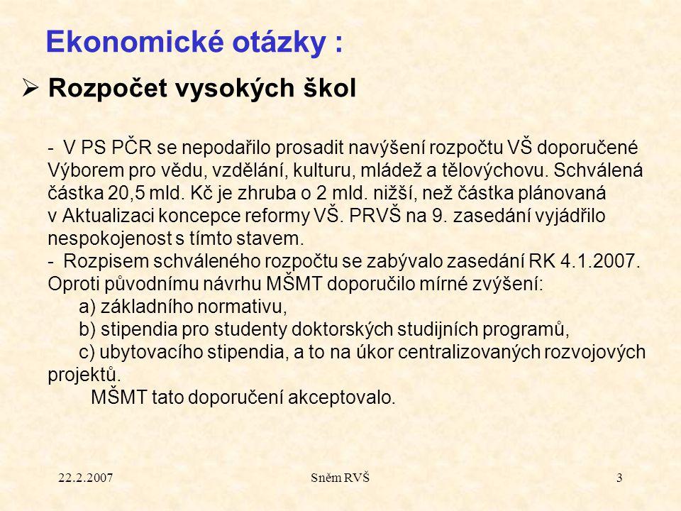 22.2.2007Sněm RVŠ3  Rozpočet vysokých škol -V PS PČR se nepodařilo prosadit navýšení rozpočtu VŠ doporučené Výborem pro vědu, vzdělání, kulturu, mlád