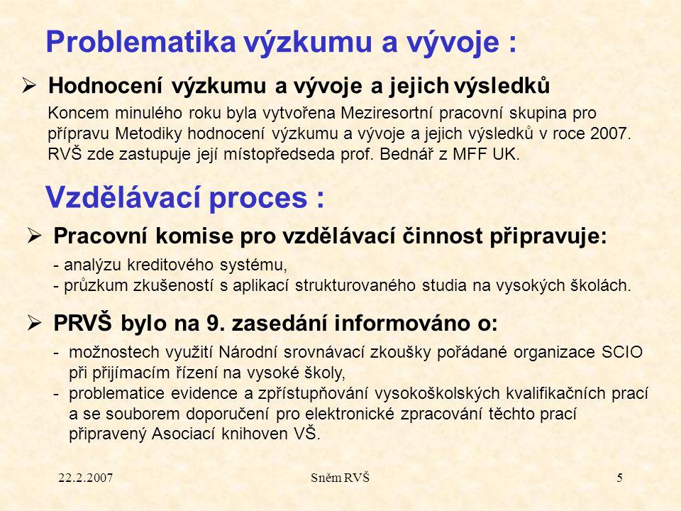22.2.2007Sněm RVŠ5  Hodnocení výzkumu a vývoje a jejich výsledků  Koncem minulého roku byla vytvořena Meziresortní pracovní skupina pro přípravu Metodiky hodnocení výzkumu a vývoje a jejich výsledků v roce 2007.