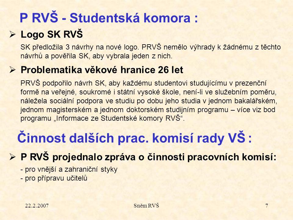 22.2.2007Sněm RVŠ7  Logo SK RVŠ SK předložila 3 návrhy na nové logo. PRVŠ nemělo výhrady k žádnému z těchto návrhů a pověřila SK, aby vybrala jeden z