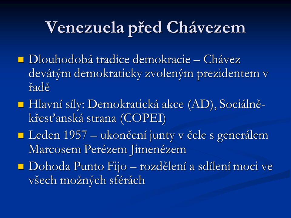 Vojenský puč z roku 1992 U moci režim prezidenta Pereze, vysoká korupce a špatné ekonomické výsledky U moci režim prezidenta Pereze, vysoká korupce a špatné ekonomické výsledky Chávez jedním z důstojníků Bolívarského revolučního hnutí Chávez jedním z důstojníků Bolívarského revolučního hnutí Puč neúspěšný Chávez tráví 18 měsíců ve vězení, poté dostává milost od prezidenta Caldery Puč neúspěšný Chávez tráví 18 měsíců ve vězení, poté dostává milost od prezidenta Caldery