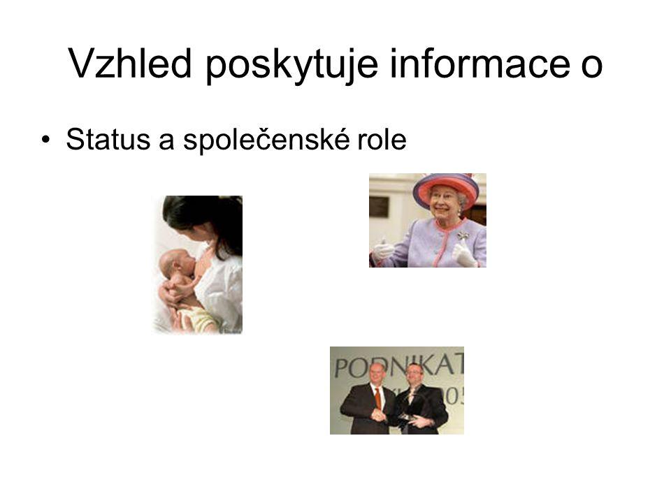 Vzhled poskytuje informace o Status a společenské role