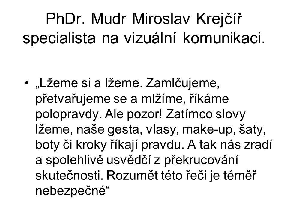 PhDr. Mudr Miroslav Krejčíř specialista na vizuální komunikaci.