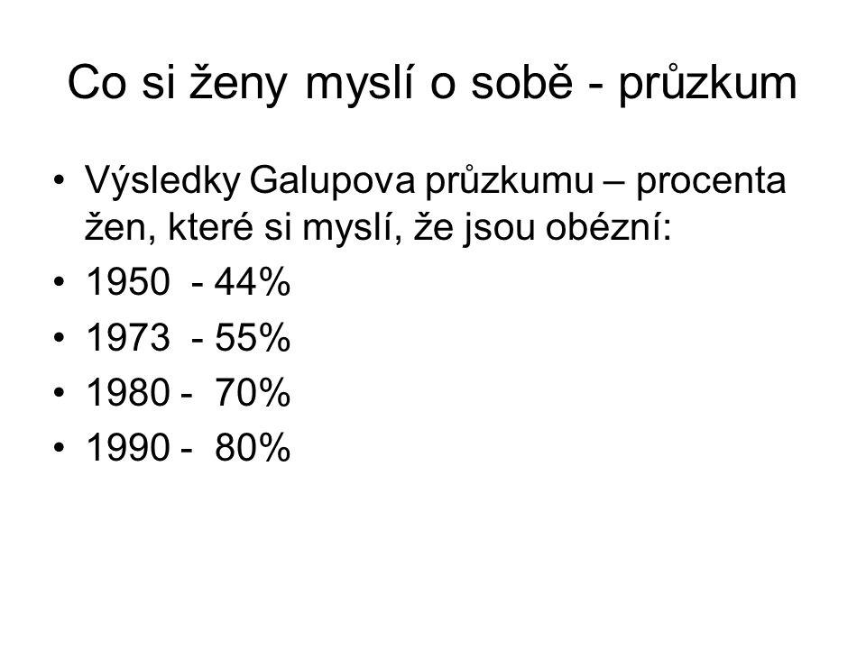 Co si ženy myslí o sobě - průzkum Výsledky Galupova průzkumu – procenta žen, které si myslí, že jsou obézní: 1950 - 44% 1973 - 55% 1980 - 70% 1990 - 80%