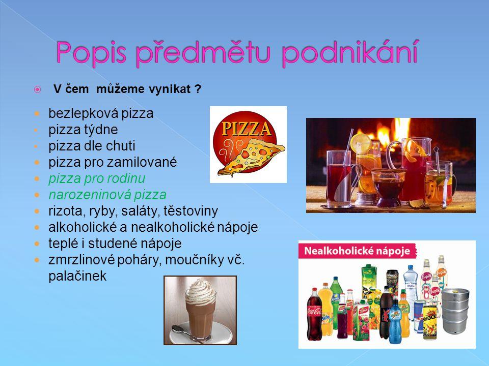  V čem můžeme vynikat ? bezlepková pizza pizza týdne pizza dle chuti pizza pro zamilované pizza pro rodinu narozeninová pizza rizota, ryby, saláty, t