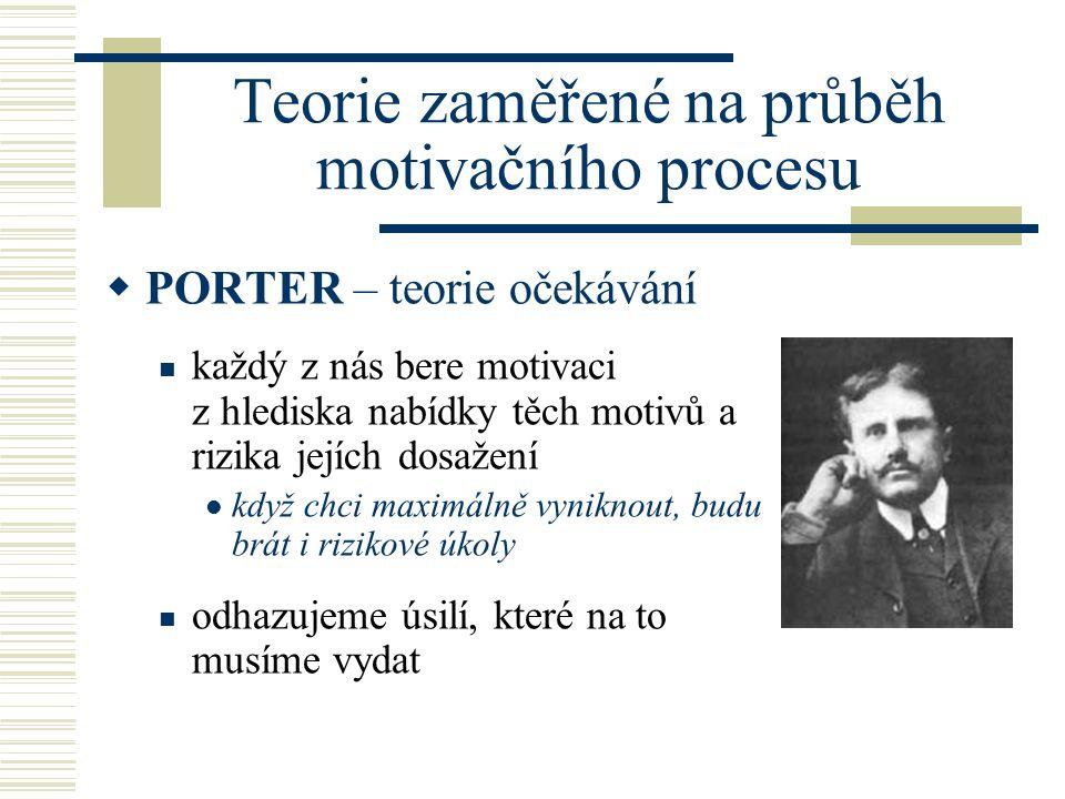 Teorie zaměřené na průběh motivačního procesu  PORTER – teorie očekávání každý z nás bere motivaci z hlediska nabídky těch motivů a rizika jejích dos