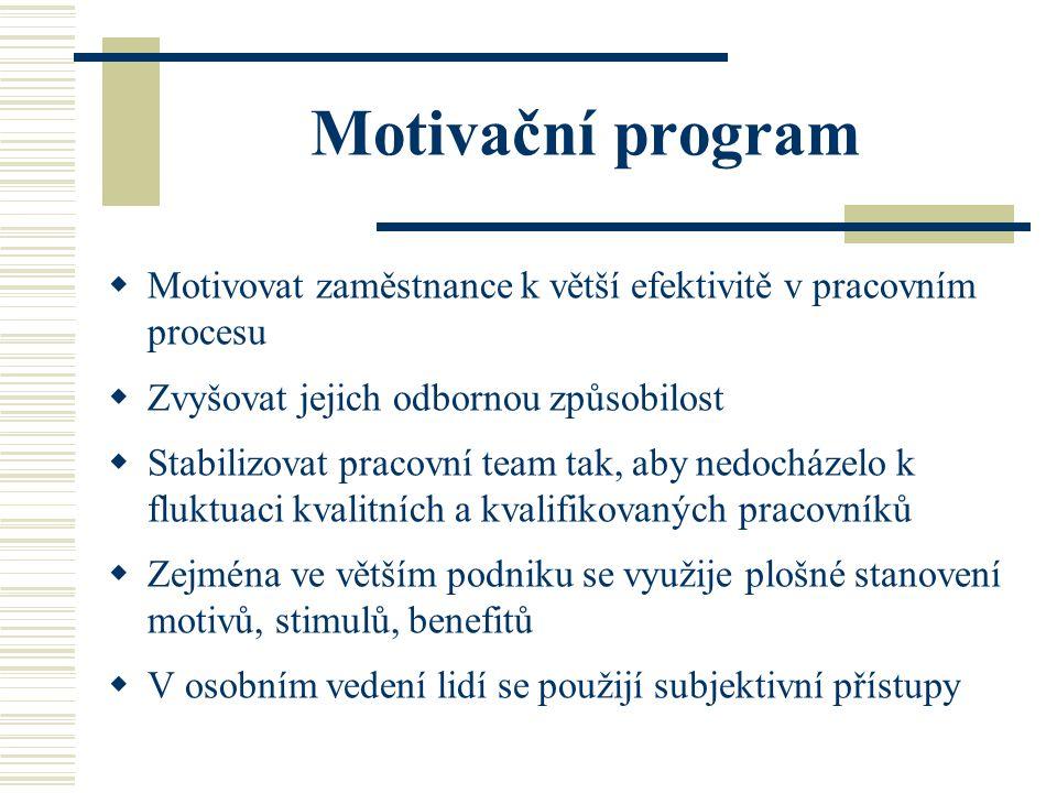 Motivační program  Motivovat zaměstnance k větší efektivitě v pracovním procesu  Zvyšovat jejich odbornou způsobilost  Stabilizovat pracovní team t