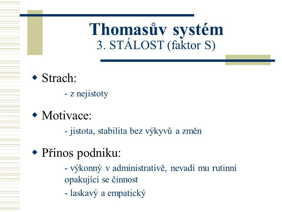 Thomasův systém 3. STÁLOST (faktor S)  Strach: - z nejistoty  Motivace: - jistota, stabilita bez výkyvů a změn  Přínos podniku: - výkonný v adminis