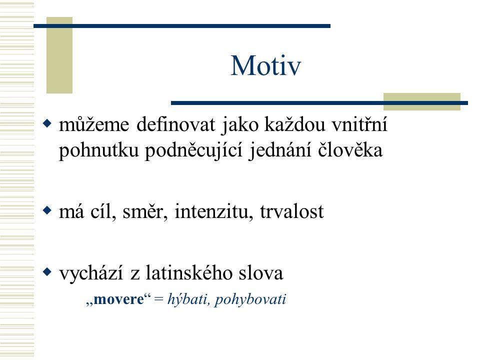 """ můžeme definovat jako každou vnitřní pohnutku podněcující jednání člověka  má cíl, směr, intenzitu, trvalost  vychází z latinského slova """"movere = hýbati, pohybovati Motiv"""