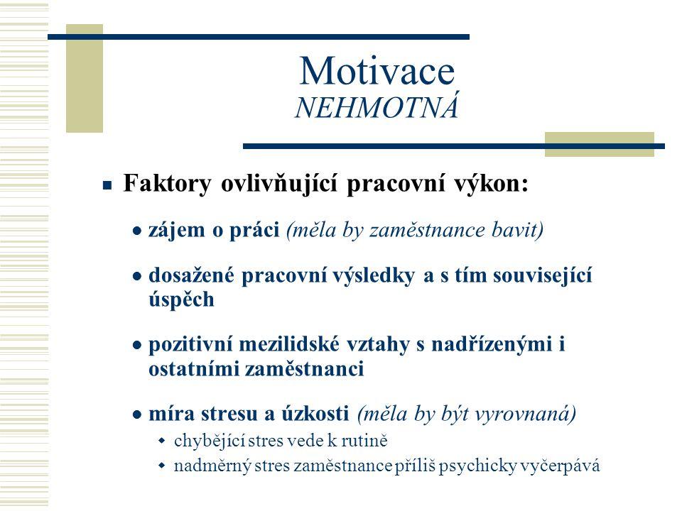 Motivace NEHMOTNÁ Faktory ovlivňující pracovní výkon: zájem o práci (měla by zaměstnance bavit) dosažené pracovní výsledky a s tím související úspěch