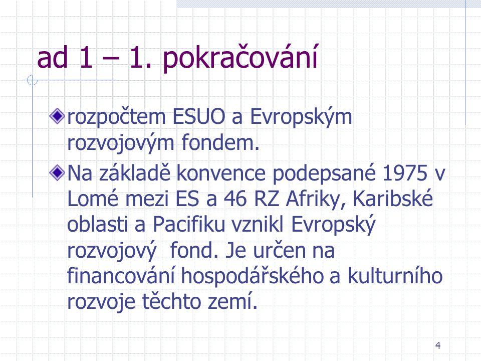 4 ad 1 – 1. pokračování rozpočtem ESUO a Evropským rozvojovým fondem.