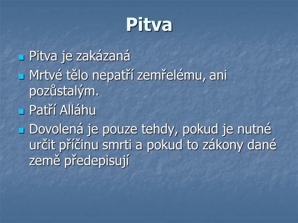 Pitva Pitva je zakázaná Pitva je zakázaná Mrtvé tělo nepatří zemřelému, ani pozůstalým. Mrtvé tělo nepatří zemřelému, ani pozůstalým. Patří Alláhu Pat