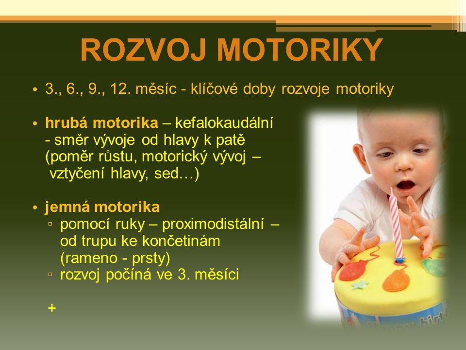 ROZVOJ MOTORIKY 3., 6., 9., 12. měsíc - klíčové doby rozvoje motoriky hrubá motorika – kefalokaudální - směr vývoje od hlavy k patě (poměr růstu, moto