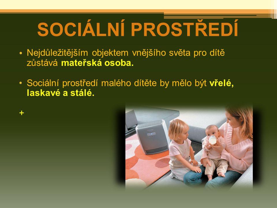 SOCIÁLNÍ PROSTŘEDÍ Nejdůležitějším objektem vnějšího světa pro dítě zůstává mateřská osoba. Sociální prostředí malého dítěte by mělo být vřelé, laskav