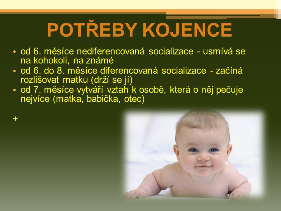POTŘEBY KOJENCE od 6. měsíce nediferencovaná socializace - usmívá se na kohokoli, na známé od 6. do 8. měsíce diferencovaná socializace - začíná rozli