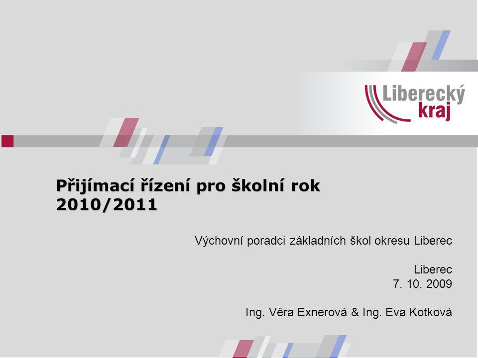 Přijímací řízení pro školní rok 2010/2011 Přijímací řízení pro školní rok 2010/2011 Výchovní poradci základních škol okresu Liberec Liberec 7.