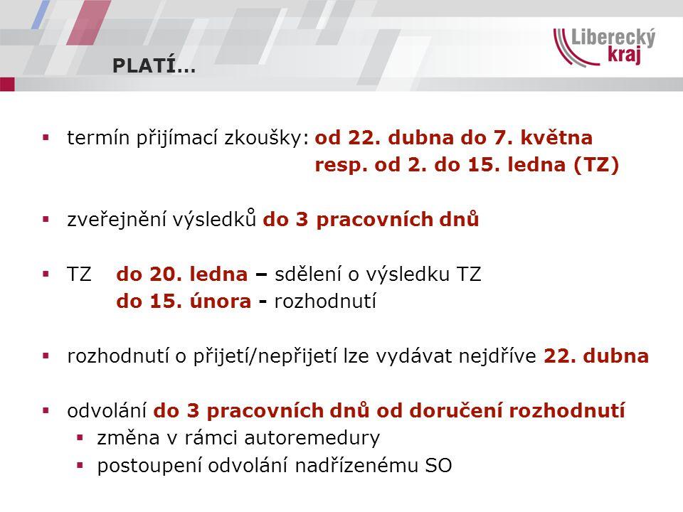 PLATÍ…  termín přijímací zkoušky:od 22. dubna do 7.
