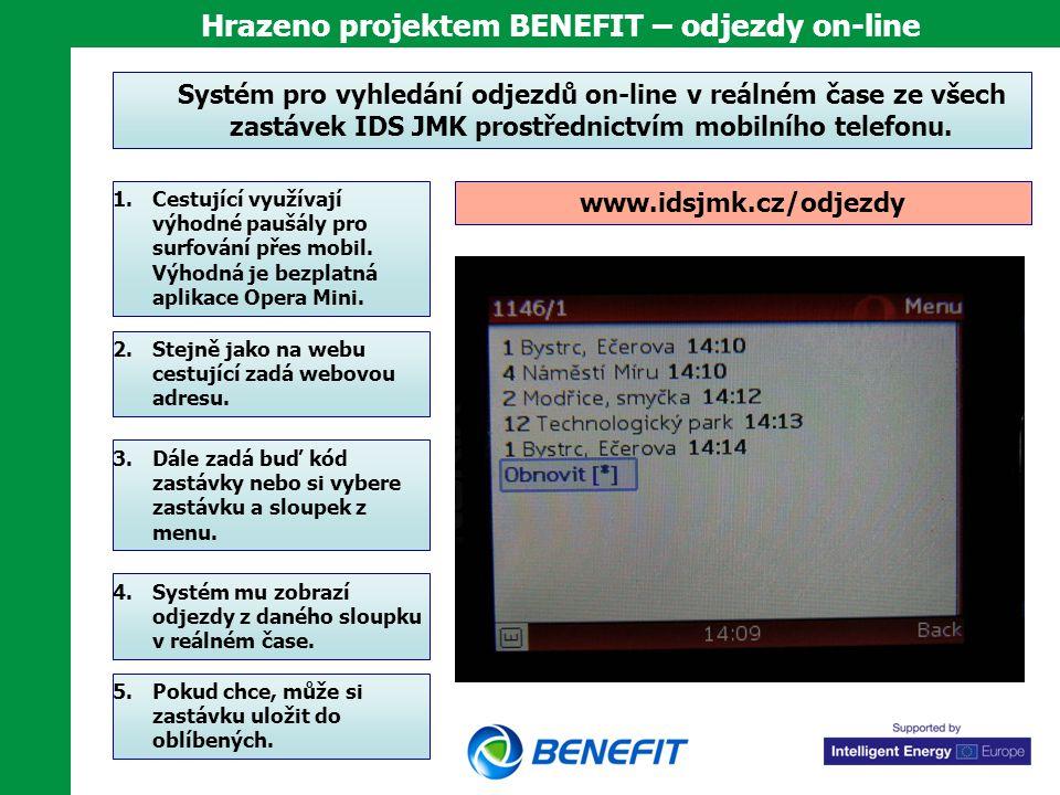 Hrazeno projektem BENEFIT – odjezdy on-line Systém pro vyhledání odjezdů on-line v reálném čase ze všech zastávek IDS JMK prostřednictvím mobilního te