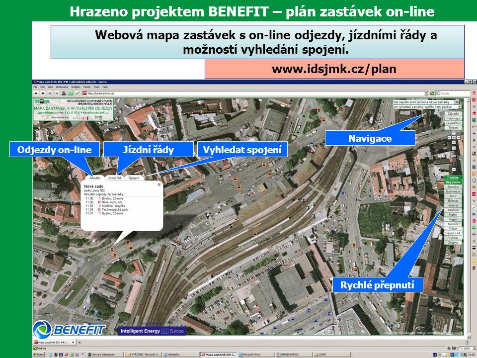 Hrazeno projektem BENEFIT – plán zastávek on-line Webová mapa zastávek s on-line odjezdy, jízdními řády a možností vyhledání spojení. www.idsjmk.cz/pl